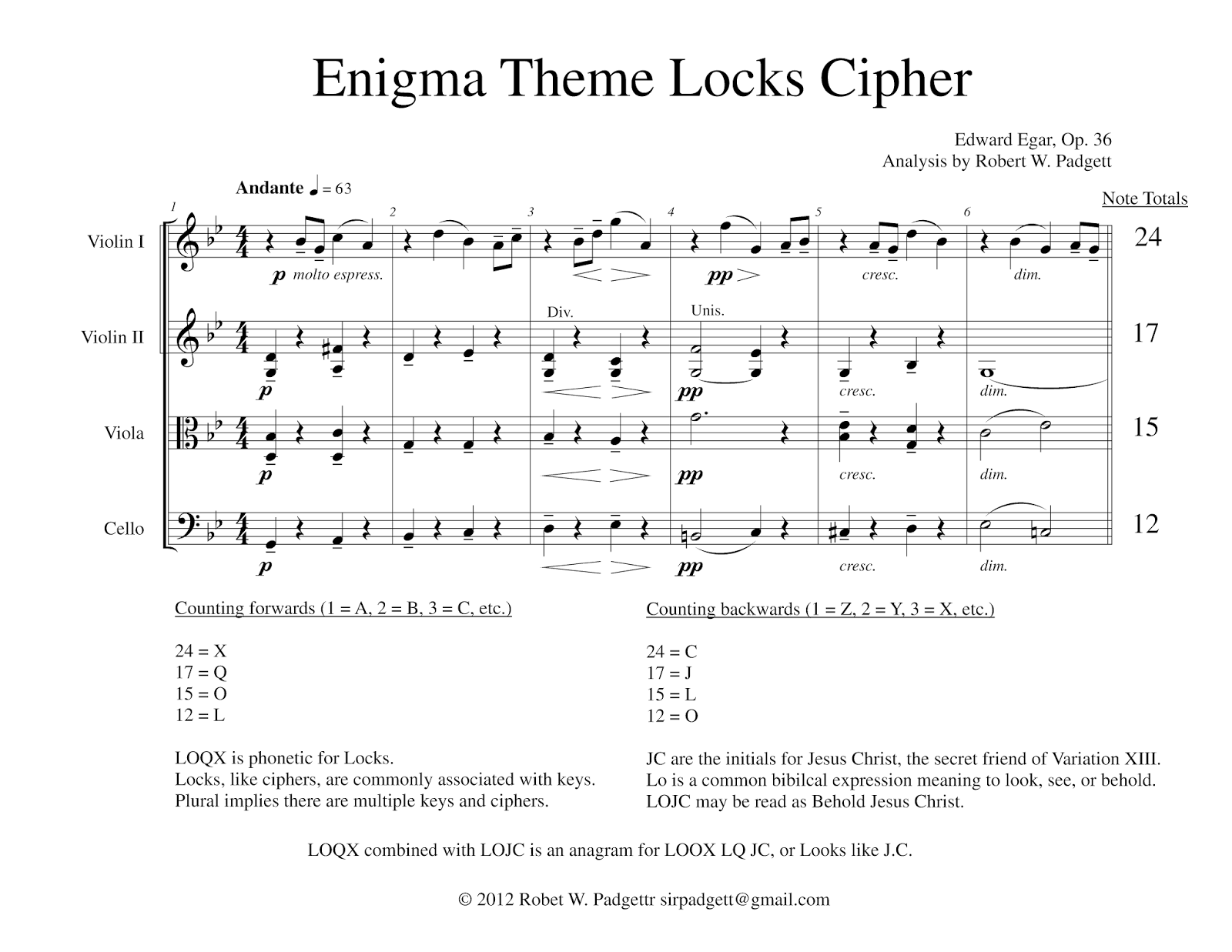 Elgar's Enigma Theme Unmasked: The Enigma Variations Keys ...