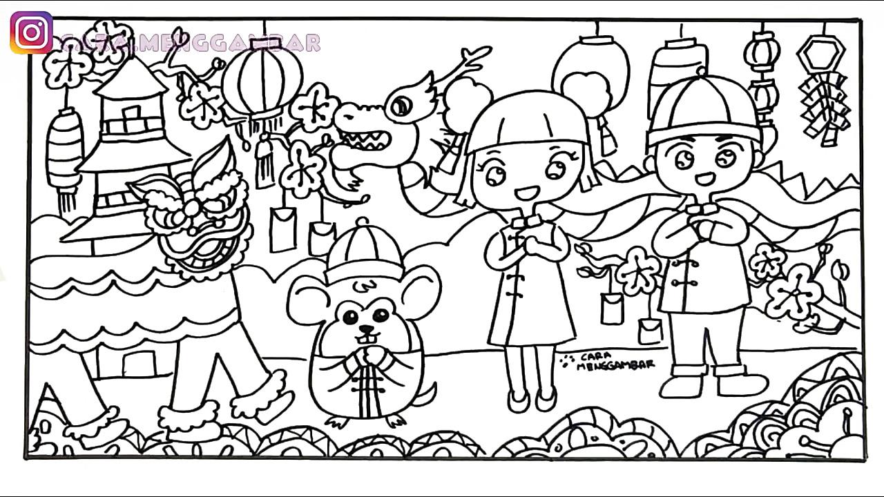 Cara Menggambar Mewarnai Tema Chinese New Year Tahun Baru