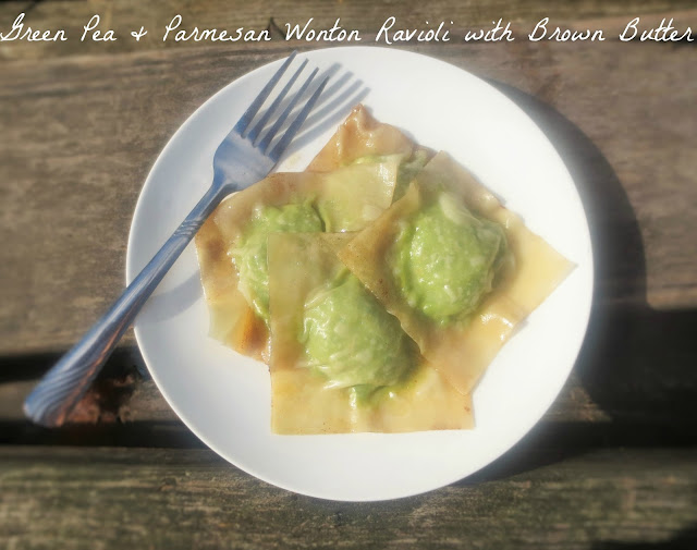 Simple Forest: Green Pea & Parmesan Wonton Ravioli with Brown Butter