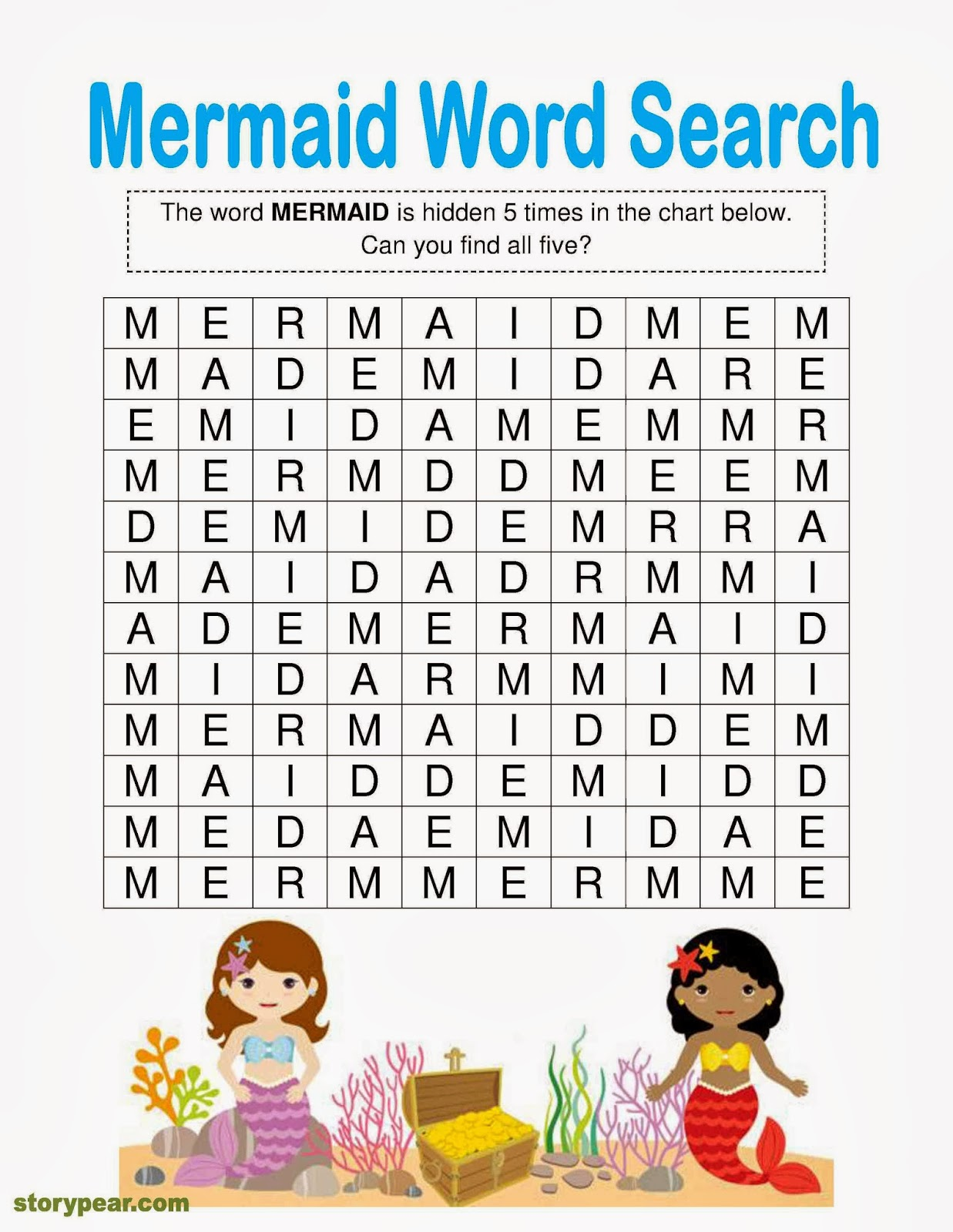 Story Pear Mermaids Free Word Finder Activity Attached