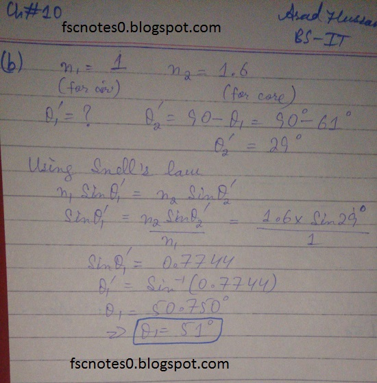 F.Sc ICS Notes: Physics XI: Chapter 10 Optical Instruments Numerical Problems Asad Hussain 9