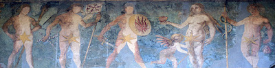 Fresco in Bern, Switzerland showing male and female deities Saturn, Jupiter, Mars, Venus with child Cupid, Mercury