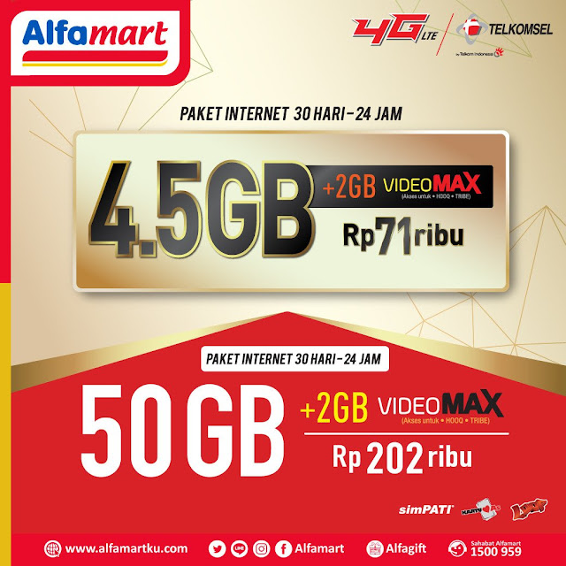 #Alfamart - #Promo Paket Internet 30 Hari 24 Jam 4,5GB & 30GB Mulai 71 Ribuan