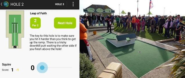 The excellent Hastings Adventure Golf App and hole 2 in real-life - it's the trickiest hole on the Crazy Golf course in Hastings. This was me playing it during a previous edition of the World Crazy Golf Championships