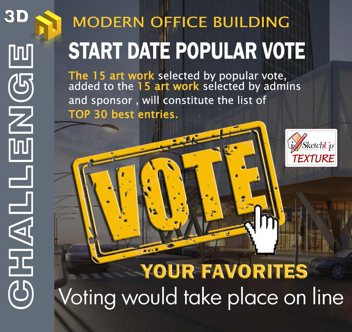 3d challenge modern office bouilding  render contest voting