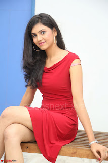 Mounika Telugu Actress in Red Sleeveless Dress Black Boots Spicy Pics 013.JPG