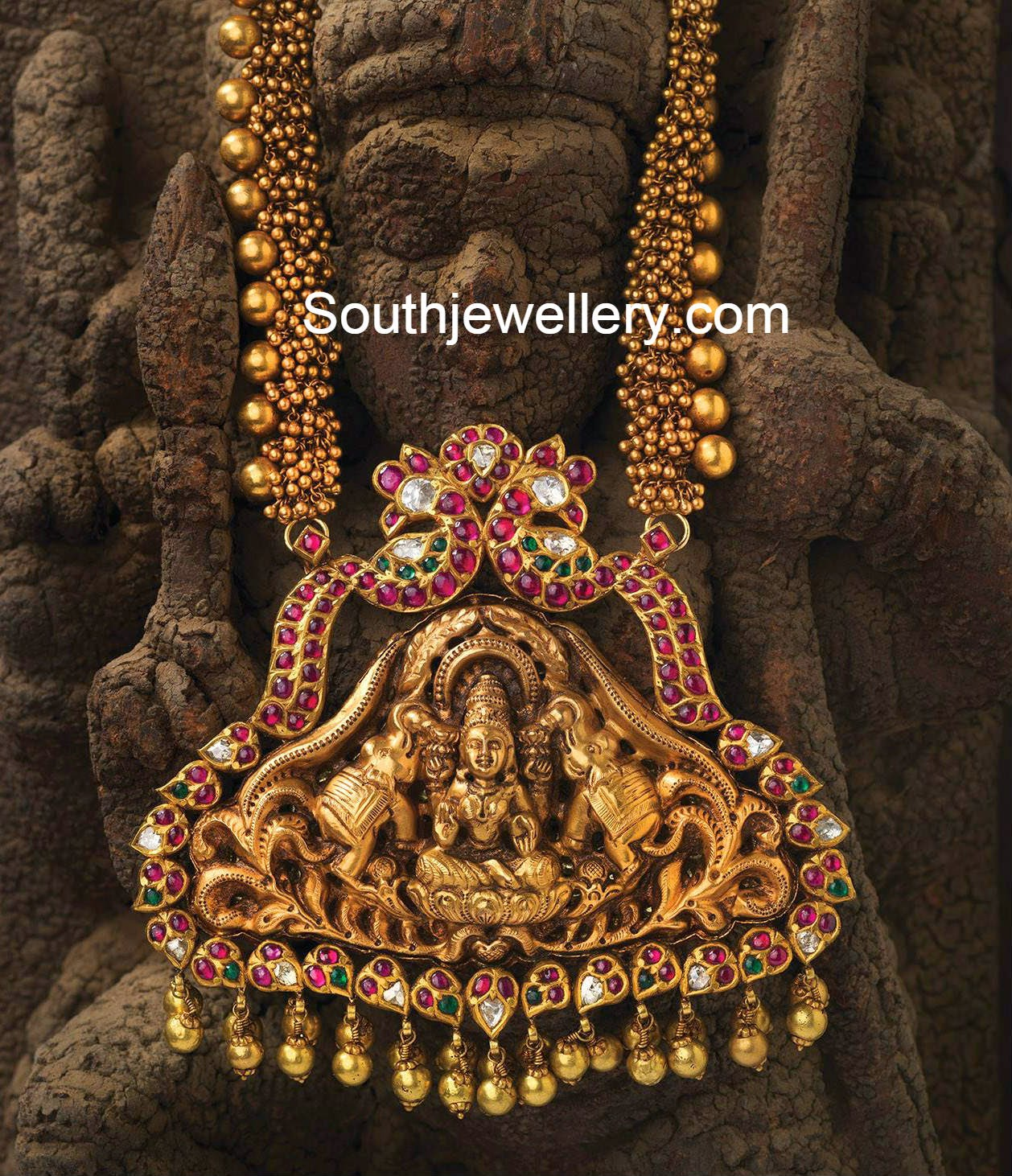 Ghungroo necklace with lakshmi pendant jewellery designs antique temple jewellery mozeypictures Image collections