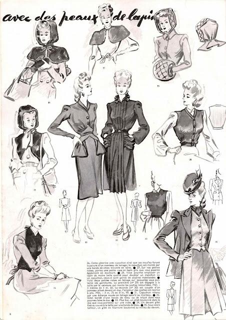 magazine mode et travaux octobre 1942 avec des peaux de lapins