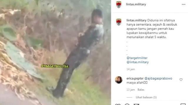 Viral Video Anggota TNI Salat di Tengah Hujan, Netizen: Masya Allah