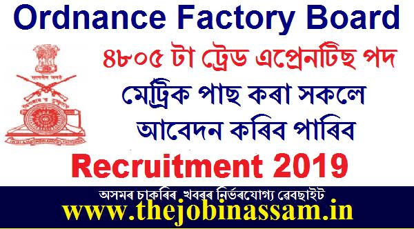 Ordnance Factory Board Recruitment 2019