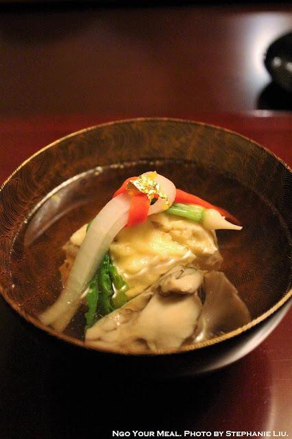 Hotate with Maitake Mushroom, Carrot, and Radish in Fish Broth at Ginza Kojyu in Tokyo, Japan