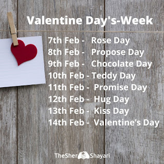 Valentine Week Days | 7th Feb to 14th Feb Valentine Week List 2020 Dates Chart Image