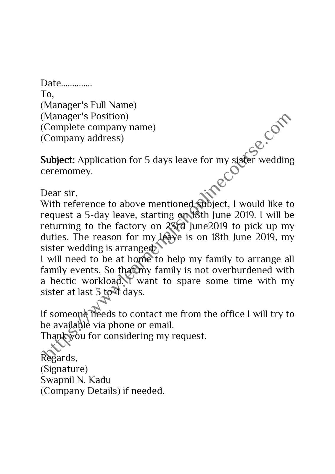 Write Half Day Leave Letter / Application- Example & Tips