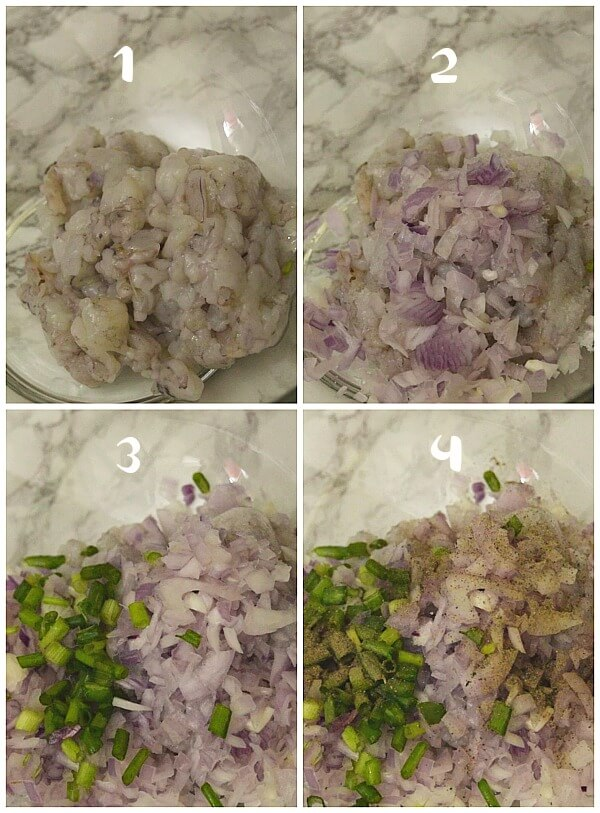 steps to make shrimp cakes - bowl with chopped shrimp,onion,spices and spring onion