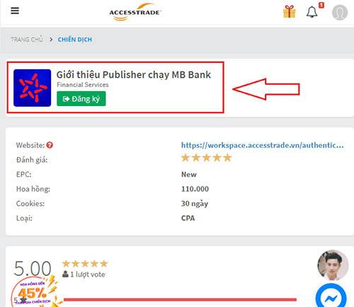 Chiến dịch giới thiệu publisher chạy MB Bank