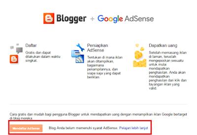 Contoh Belum dapat diterima Google Adsense