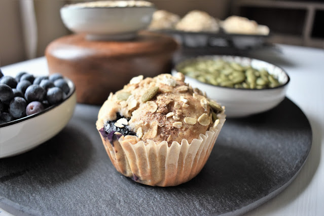 Vegan Blueberry Muffins with Pumpkin Seeds and Oats