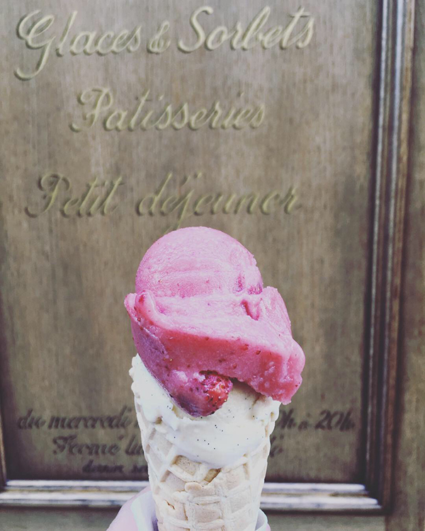wild strawberry and vanilla ice cream from Berthillon in Paris