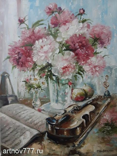 Пионы и скрипка картина