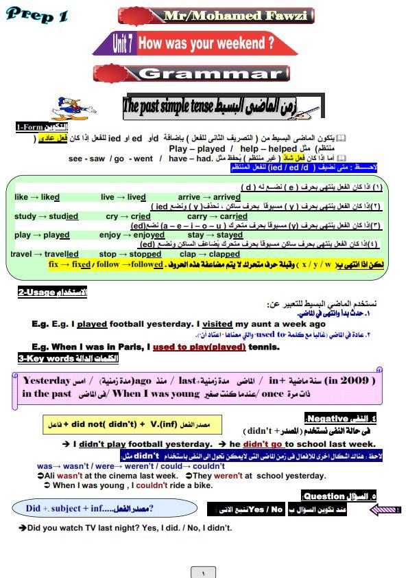 مذكرة قواعد اللغة الإنجليزية كاملة الصف الأول الإعدادى الترم الثانى 2021 مستر محمد فوزى