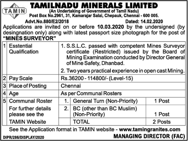 TAMIN Mine Surveyor Recruitment 2020