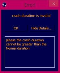 Figure 5.12 Error Message for invalid crash duration FREE PROJECT DOCUMENT ON AUTOMATION OF TIME COST TRADE OFF ANALYSIS