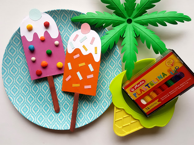 papierowe lody diy - summer children crafts - prace plastyczne dla dzieci - wakacje z dzieckiem - kreatywnie z dzieckiem