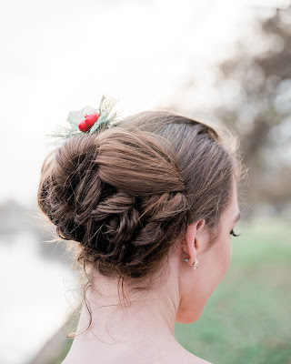 winter bride updo with holiday hairpiece  | Christmas hairstyle