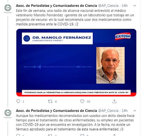 Opinión vertida por AP-CIENCIA con respecto a la IVERMECTINA y MANOLO FERNANDEZ