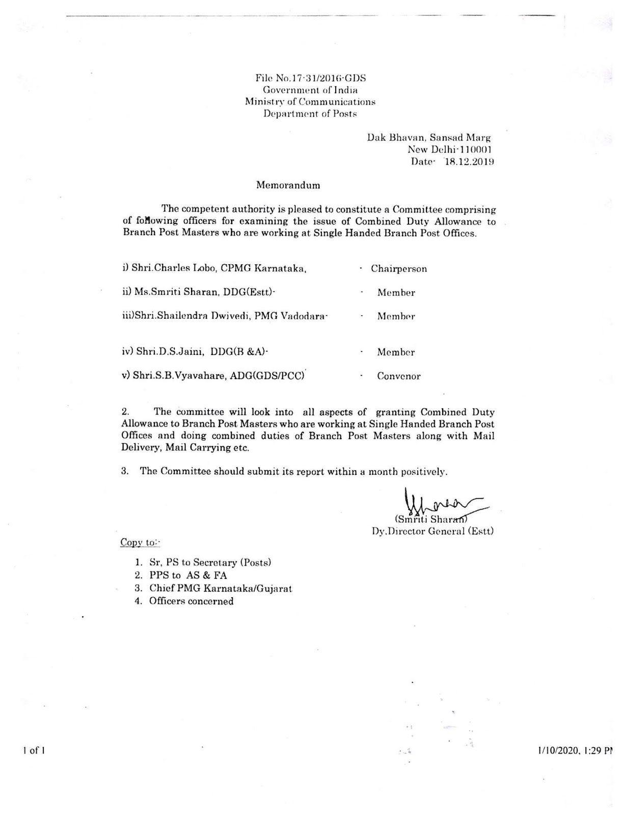 Charter of demands submitted by AIGDSU