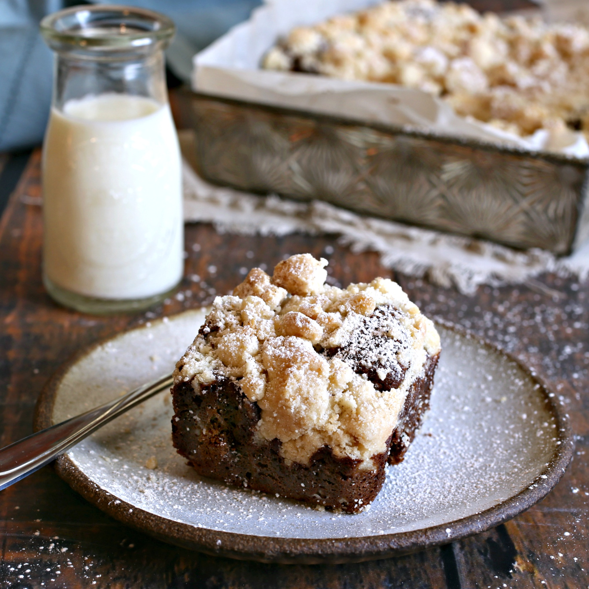 Recipe for a fudgy chocolate cake topped with a thick layer of cinnamon streusel.