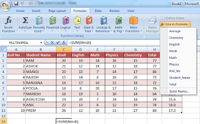 What is Name Manager option in Excel and its Use in Hindi