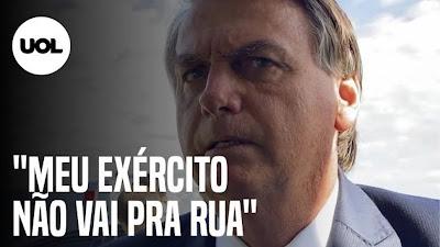 """Bolsonaro: """"Meu Exército não vai pra Rua"""" e diz que está namorando outro partido"""