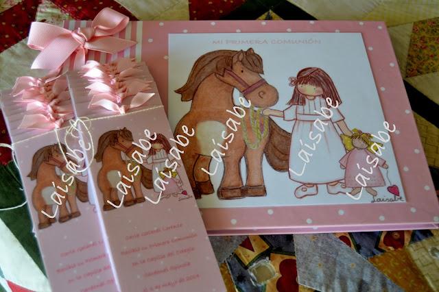 Recordatorios niña caballo y libro de firmas