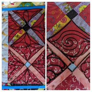 Quilting ideas sketched on plastic overlay include petals, spirals, and stitch in the ditch
