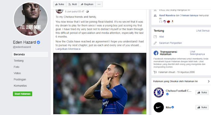 Pesan Mengharukan Eden Hazard untuk Chelsea