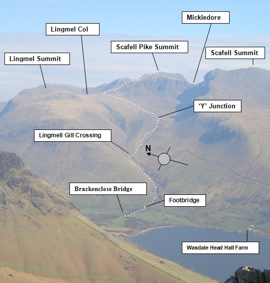 Scafell pike quick way walking route map 3 peaks challenge