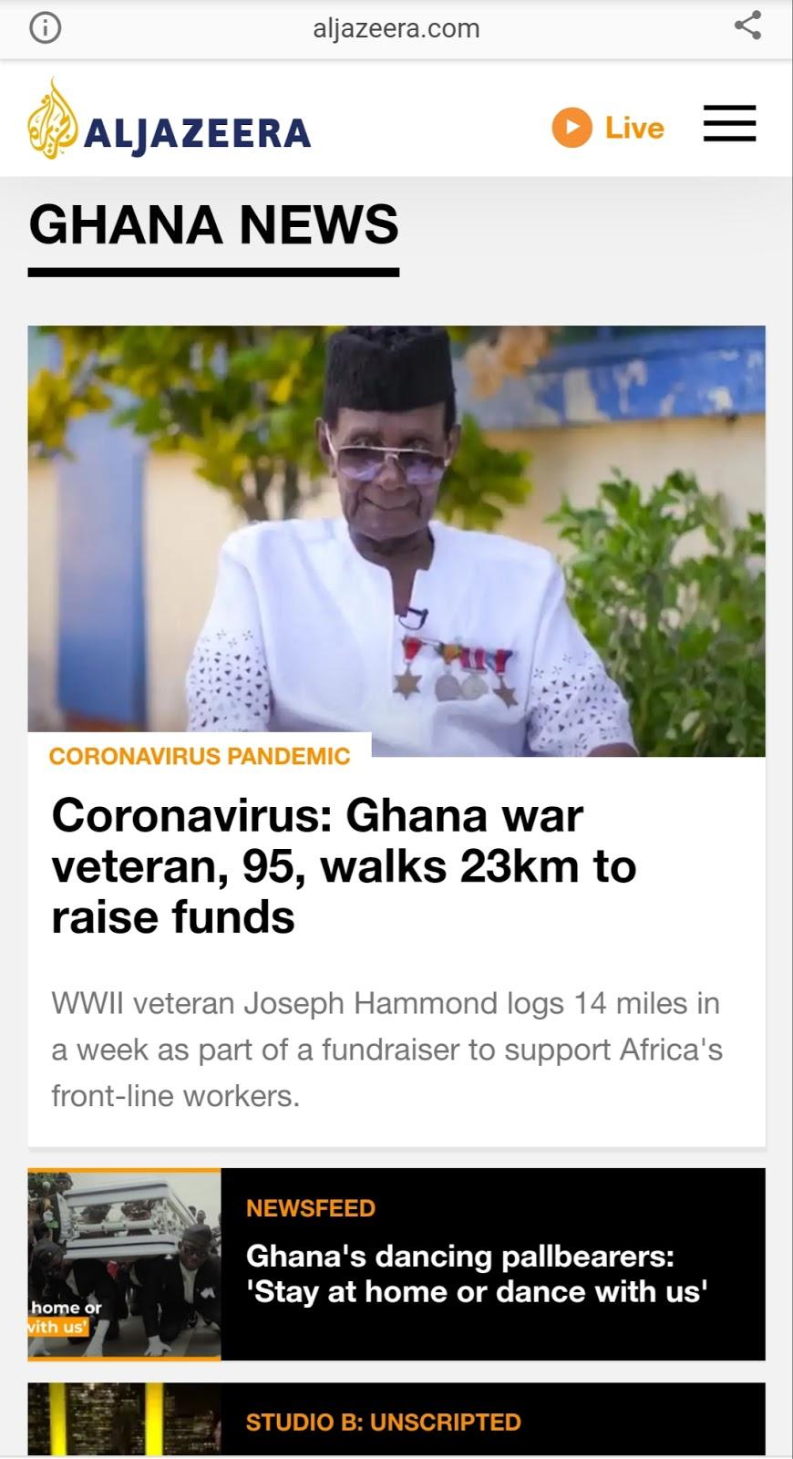 Snippet of Al-Jazeera AMP news