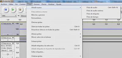 Imagen Audacity, Imagen Editor de audio, Foto Software libre, Foto aplicación multiplataforma, Imagen grabar audio, Imagen mezclar pistas, Foto efectos de audio, Imagen Menú de pistas