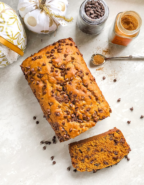 chocolate chip pumpkin spice bread with spices and chocolate chips