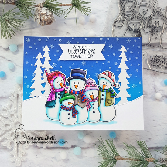 Snowman Card by Andrea Shell | Frosty Folks Stamp Set, Forest Scene Builder Die Set, Land Borders Die Set and Petite Snow Stencil by Newton's Nook Designs #newtonsnook #handmade