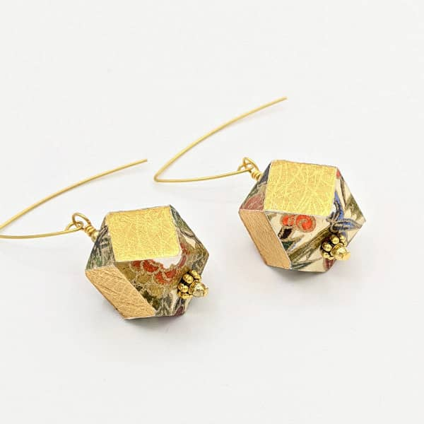 Origami paper and wooden geometric bead statement earrings