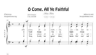 O come, all ye faithful Partitura de CORO SATB a 4 voces Letra en inglés Adeste Fideles