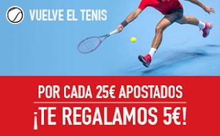 Promocion sportium Tenis: Por cada 25 euros te dan 5 euros 2-8 enero