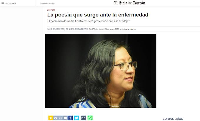 La poesía que surge ante la enfermedad El poemario de Nadia Contreras será presentado en Casa Mudéjar