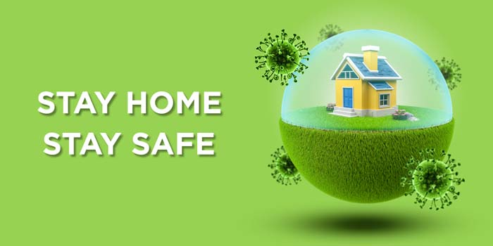 House Globe With Barrier Prevent Coronavirus Covid-19 Green Banner