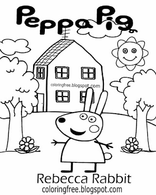 Top stuff to color in play school sketch ideas Rebecca Rabbit Peppa pig printable easy coloring page