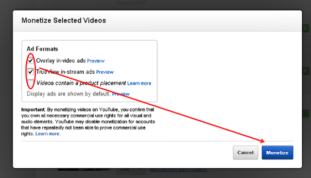 Monetize Selected Videos