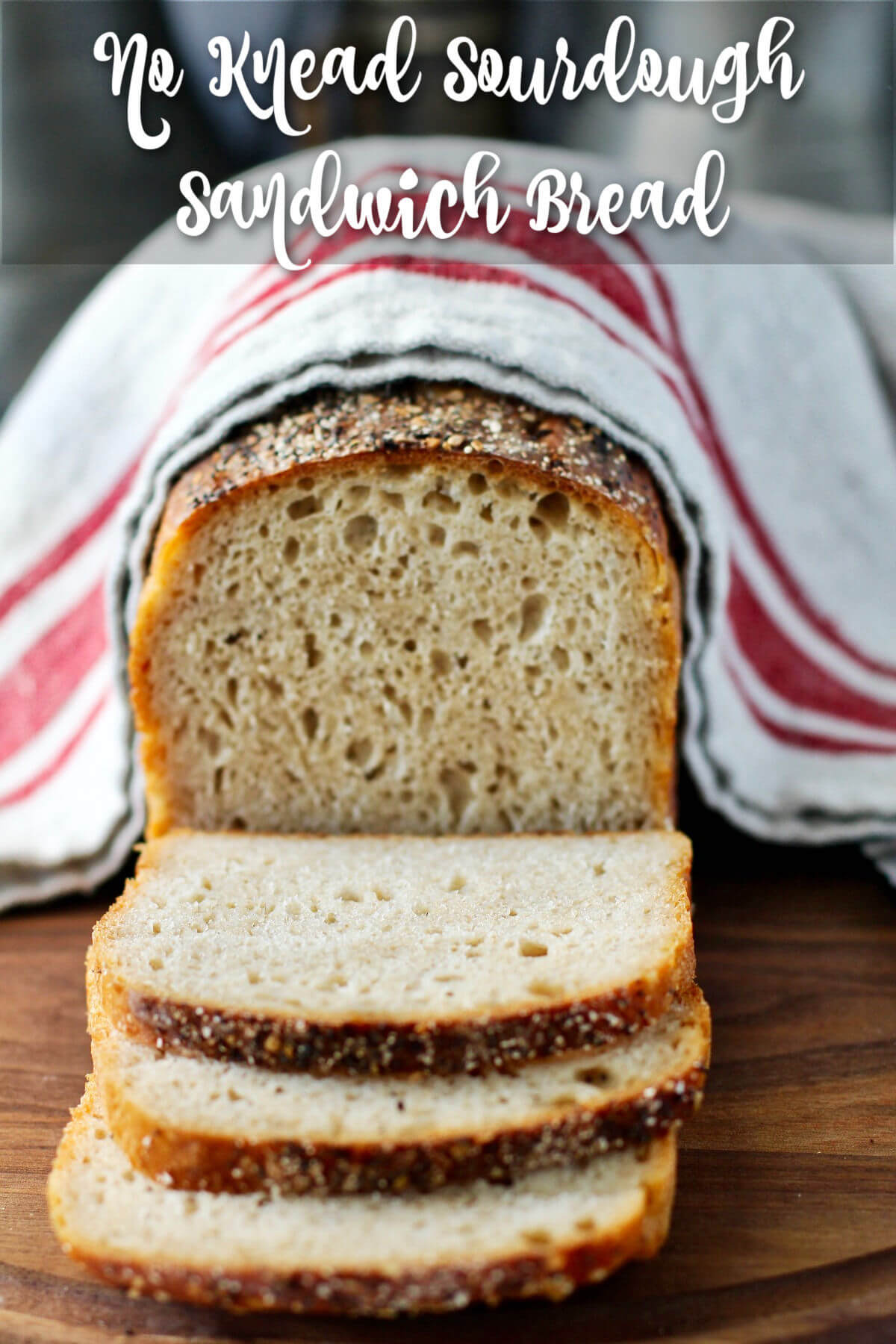 No Knead Sourdough Sandwich Bread with white whole wheat and rye flour.