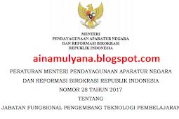 Permenpan RB No 28 [Tahun] 2017 (Tentang) Jabatan Fungsional PENGEMBANG TEKNOLOGI Pembelajaran & ANGKA KREDITNYA